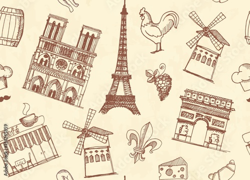 Tuinposter Doodle Seamless background with sketches on the theme of Paris and France