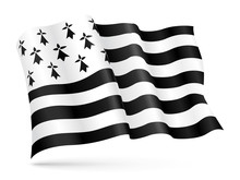 Vector Flag Of Brittany, France Waving On Wind
