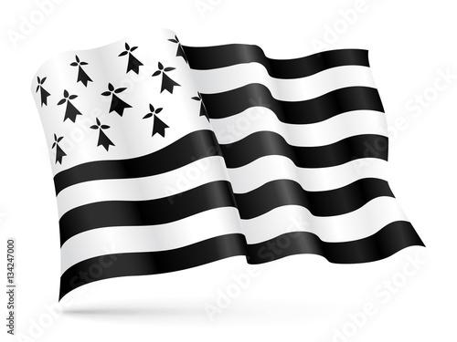 Fotografia Vector flag of Brittany, France waving on wind