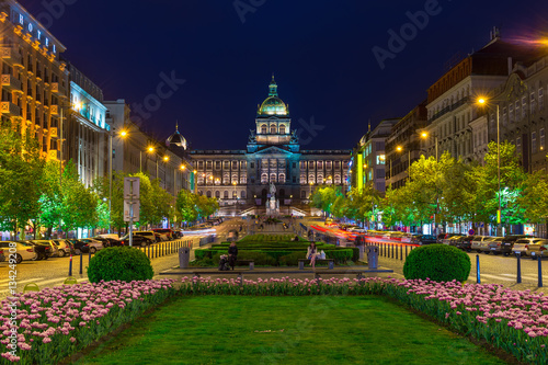 Poster Prague Night view of Wenceslas square and National Museum in Prague, Czech Republic