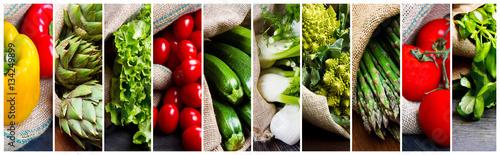 Fotografía  coolage di differenti tipi di verdura fresca
