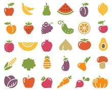 Simple Icons Of Vegetables And Fruit