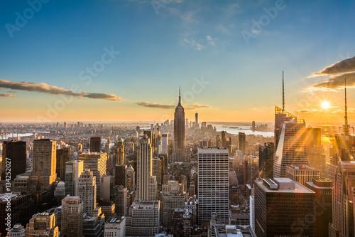 Fotografie, Obraz  New York City Skyline, at sunset view from Rockefeller Center, United States