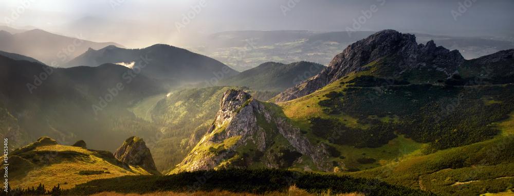 Fototapety, obrazy: Tatra sunset panorama