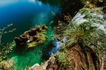 Fototapeta na wymiar Croatia waterfall, the beautiful waterfall in deep forest at National Park.