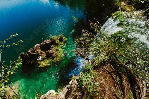 Fototapeta Croatia waterfall, the beautiful waterfall in deep forest at National Park.