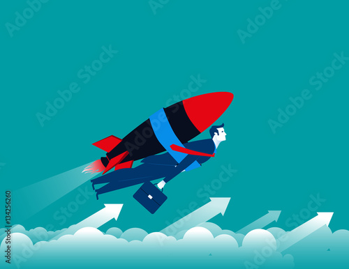 Businessman with rocket and flying up Poster