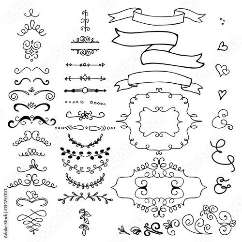Hand drawn pencil border, frames, ribbon  Sketch design