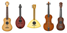 Vector Cartoon Collection With Different Type Of Guitars On The White Background. Concept Of Music And Musical Instruments.
