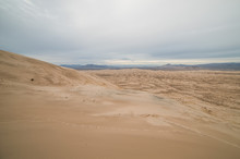 Massive Kelso Sand Dunes In Mojave National Preserve, California On A Cloudy Day