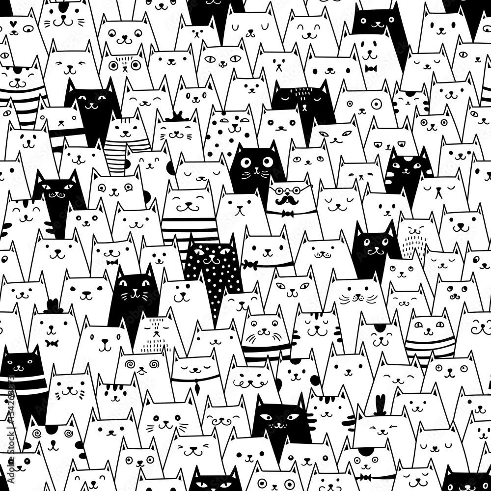 Fototapeta Cats seamless vector pattern