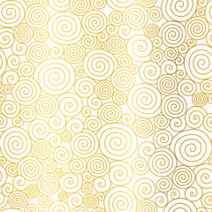 FototapetaVector Golden White Abstract Swirls Seamless Pattern Background. Great for elegant gold texture fabric, cards, wedding invitations, wallpaper.