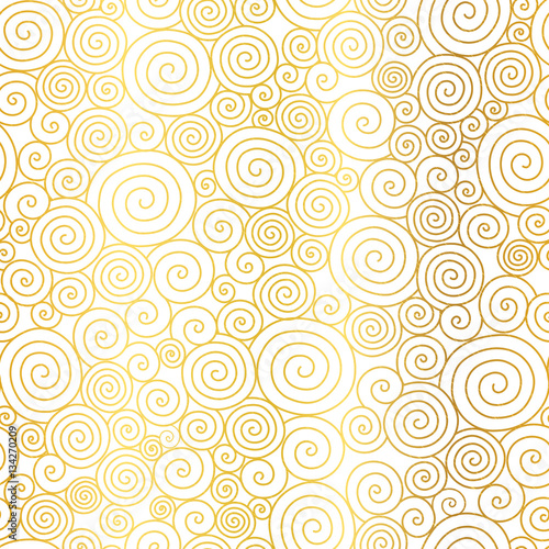 Vector Golden White Abstract Swirls Seamless Pattern