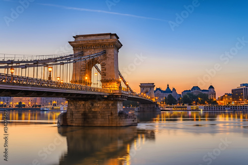 Budapest Chain Bridge and city skyline when sunrise, Budapest, Hungary Wallpaper Mural