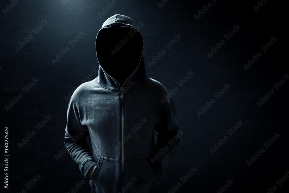 Fototapety, obrazy: Hacker standing alone in dark room