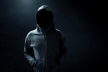 Hacker Standing Alone In Dark ...