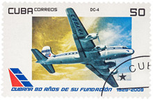 Passenger Aircraft Douglas DC-4 On Postage Stamp