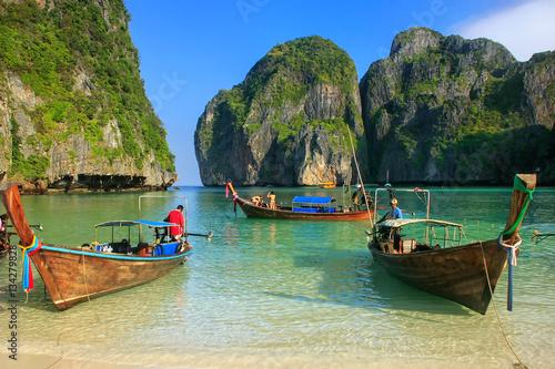 Longtail boats anchored at Maya Bay on Phi Phi Leh Island, Krabi