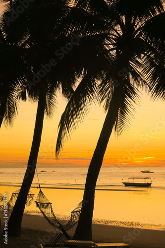 Hammock on Colorful Beach Sunrise - Panglao, Philippines Canvas Print
