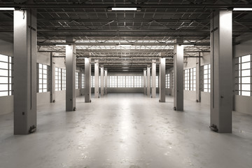 Panel Szklany Architektura empty factory interior