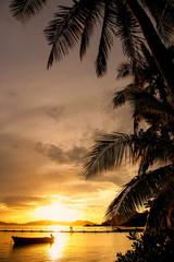 Fototapeta Drzewa Colorful sunset at Nananu-i-Ra Island, Fiji