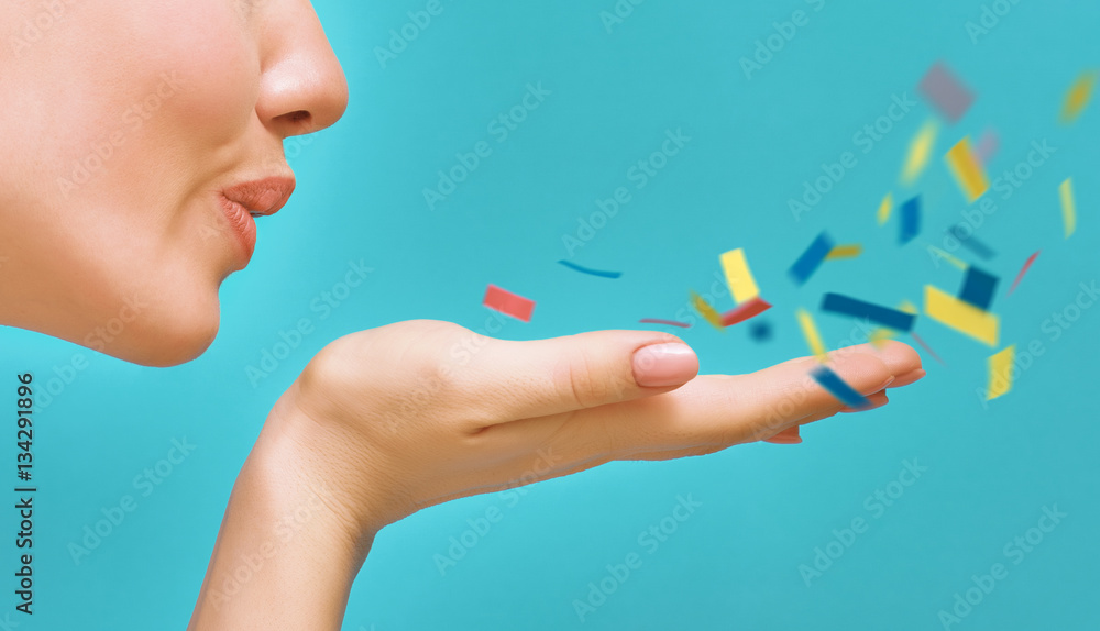 Fototapety, obrazy: woman on background of bright blue wall