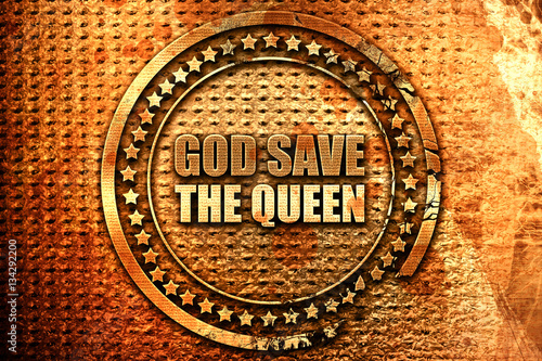 god save the queen, 3D rendering, grunge metal stamp Wallpaper Mural