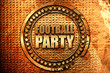 football party, 3D rendering, grunge metal stamp