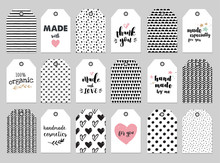 Handmade, Craft, Knitting And Art Labels, Tags With Lettering, Seamless Hand Drawn Patterns