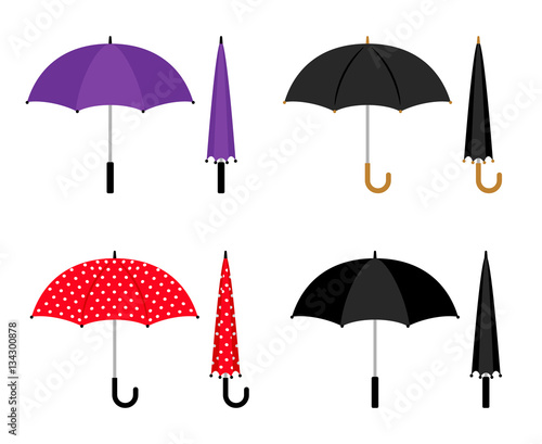 Umbrellas Folded And Opened Collection Black Red And Violet