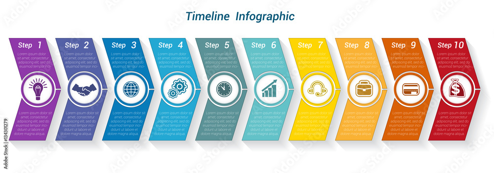 Fototapety, obrazy: Template Timeline Infographic from colour arrows 9 position