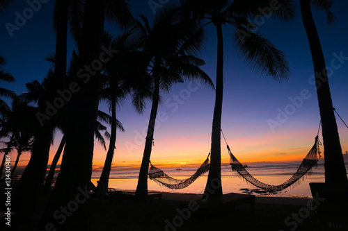Idylic Hammocks Between Coconut Trees on Panglao Island Canvas Print