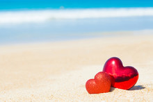 Sweet Two Heart On Sand Beach Blue Sky  Abstract Background Love