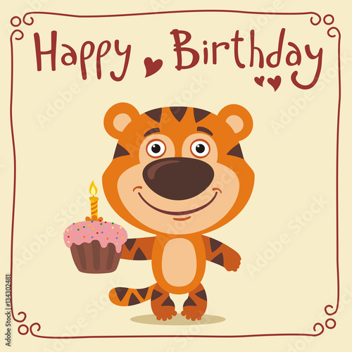 Strange Happy Birthday Funny Tiger With Birthday Cake Greeting Card With Personalised Birthday Cards Paralily Jamesorg