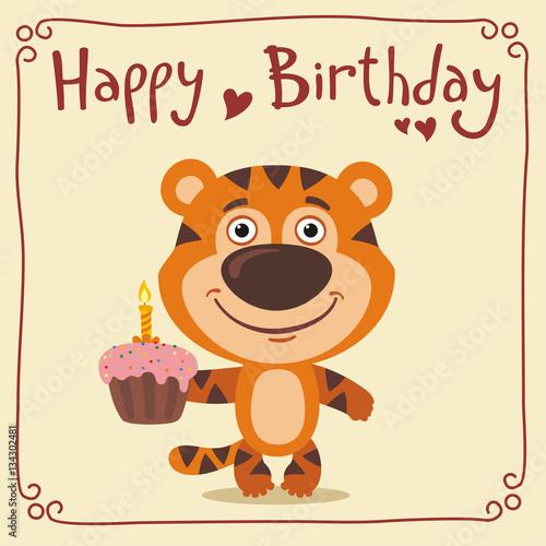 Swell Happy Birthday Funny Tiger With Birthday Cake Greeting Card With Funny Birthday Cards Online Inifodamsfinfo