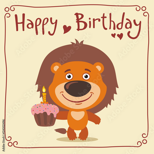 Strange Happy Birthday Funny Lion With Birthday Cake Greeting Card With Personalised Birthday Cards Veneteletsinfo