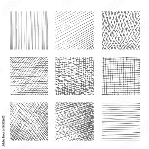 Valokuva  Hatching textures, cross lines, canvas pattern background vector set