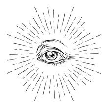 Hand-drawn Grunge Sketch Eye Of Providence. Masonic Symbol. All Seeing Eye. New World Order. Conspiracy Theory. Alchemy, Religion, Spirituality, Occultism Vector Illustration.