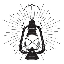 Hand-drawn Grunge Sketch Vintage Oil Lantern Or Kerosene Lamp With Rays Of Light. Vector Illustration. T-shirt Print Or Poster Design.