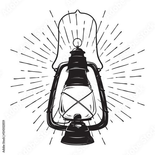 Hand-drawn grunge sketch vintage oil lantern or kerosene lamp with rays of light Canvas Print