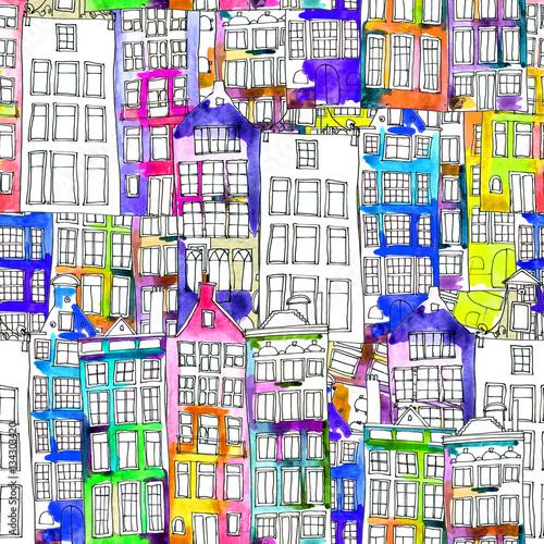 bezszwowi-deseniowi-eith-akwareli-amsterdam-domy