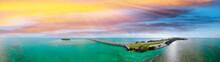 Florida Keys Bridge, Beautiful Sunset Aerial View