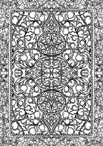 Fotografie, Obraz  Vintage gothic pattern with floral elements