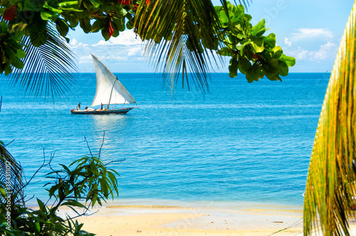 Poster Zanzibar Sailing boat passing an empty sandy beach on a sunny day with some clouds in the sky. The scene is framed by branches and palm tree leaves