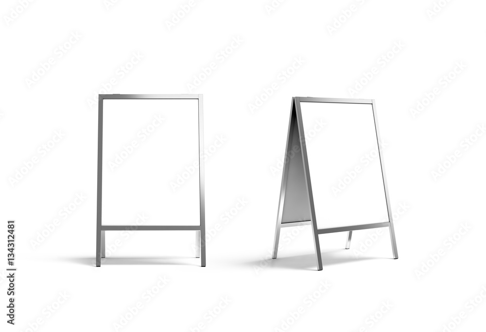 Fototapeta Blank white metallic outdoor stand mockup set, isolated, front and side view, 3d rendering. Clear street signage board mock up. A-board with metal frame template.