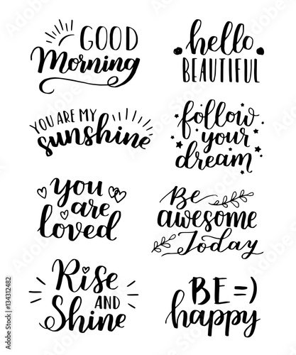 Lettering vector set motivational quote sweet cute