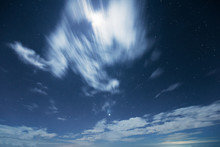 Night Sky With Moving Cloud