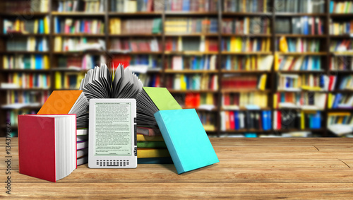 Photographie E-book reader Books and tablet library background 3d illustratio