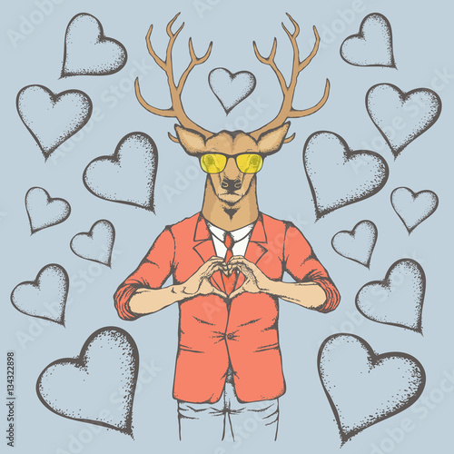 Deer Valentine day vector concept