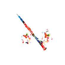 Colorful Cassical Flute With Music Notes And Butterflies Isolated. Music Instrument Background Vector Illustration. Design For Poster, Brochure, Invitation, Banner, Flyer, Concert And Music Festival